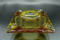 Vintage MCM Cigar & Cigarette Square Ashtray / Amber Glass / 4 Slotted / 5 1/2""