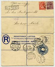 SOUTH AFRICA REGISTERED STATIONERY ENVELOPE GERMISTON to GERMANY + TPO...8 PMKs