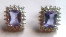 Cubic Zirconia Lab-Created Stud Fine Earrings