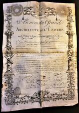 FREEMASONRY DIPLOMA In the name of the Grand Architect of the Universe - 1812