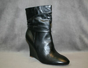 NEW ELIE TAHARI BLACK LEATHER FALLON BOOTIE WEDGE BOOTS SHOES SZ 40.5 US 10.5