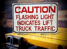 Vintage Caution Flashing Light Fork Lift Truck Traffic Industrial 2 Sided Sign