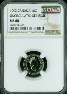 1992 CANADA 10 CENTS NGC MAC MS-68 PQ SOLO FINEST GRADE SPOTLESS  .