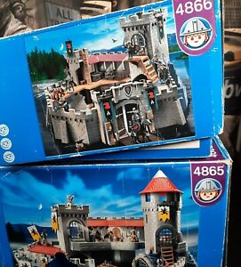 Playmobil Knight Castle 4865 & 4866 Boxed/Instructions/Bonus Pieces- Incomplete