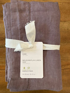 NEW POTTERY BARN  BELGIAN FLAX LINEN CLASSIC    FIG PURPLE COLOR KING SHAM NWT