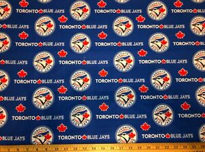 NEW MLB COTTON Fabric 1/4 yard=9 inX 44 in TORONTO BLUE JAYS BLUE DIY MASK