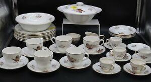 Large 39 Piece Vintage Arklow Pheasant White Gold Edge Dinner Service Set