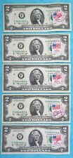 1976 5-consecutive First Day Issued Stamp FRN $2 Federal Reserve Note Two Lot #3