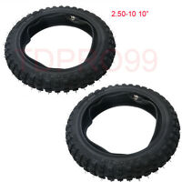 """2pcs 2.50-10"""" Inch Front Knobby Tyre Tire + Tube PIT PRO Trail Dirt PW50 Bike"""