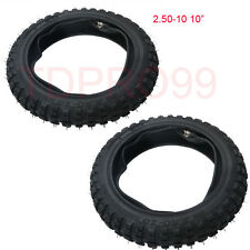 "2pcs 2.50-10"" Inch Front Knobby Tyre Tire + Tube PIT PRO Trail Dirt PW50 Bike"