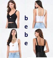 bebe Black Peekaboo Sexy Crop Tank Bra Top Dance Club Wear Size M $49 MSRP New