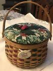 * LONGABERGER * 2003 Tree Trimming MELODY Basket, Lid & Holly cover + Tie-On