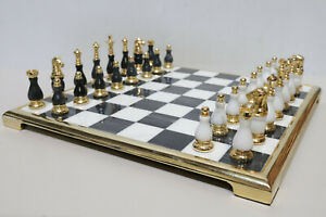 Vintage Gold Plated And Granite Chess Set 1970s Style - 250