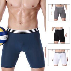 Men Breathable Boxer Trunks Briefs Shorts Bulge Pouch Long Leg Sports Underpants