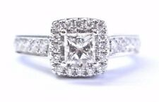 Fine Princess & Round Cut Diamond Engagement White Gold Square Ring 14Kt .92CT