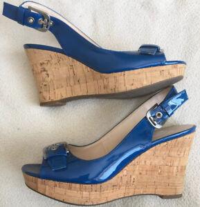Franco Sarto Carnival Denim Wedges Patent Slingback Sandals Sz 7.5 Women's