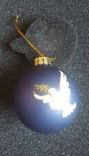 Hand Painted Glass Christmas Tree Decorations Glittered Blue Peace Dove Bauble