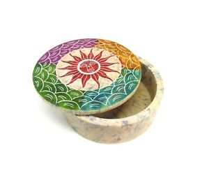 Soapstone Sun Hand Carved Box, Fair Trade, Trinket Pot, Jewellery Storage