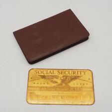 Vintage Antik Metall U.S.Social Security Id-Karte Gold Farbe Graviert Mit