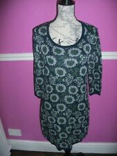 LAURA ASHLEY NAVY BLUE GREEN WHITE FLORAL COTTON LONG JUMPER TUNIC DRESS 12