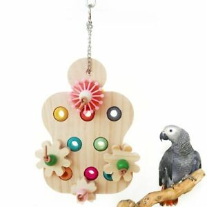 Parrot Interactive Toy Bird Educational Colorful Wooden Chewing Supplies 12x19cm