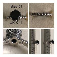 PANDORA BLACK SPINEL BUBBLE RING SIZE 51 UK K - L REF 190831ME DISCONTINUED