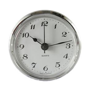 Uhrwerk Quartz Einbau-Uhr Ziffern arabisch Lünette silber Ø 66 mm Batterie inkl.