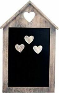 House Shaped Wooden Magnetic Memo Organiser Chalkboard with 3 Magnetic Hearts