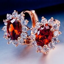 ROMANTIC WEDDING ROSE GOLD Plated RED Cubic Zircon Classic Hoop Earrings