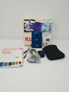 ***Tested - Kodak ZM2 Mini HD Waterproof Camera in Blue w/ Pouch and Charger ***