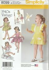 Simplicity Sewing Pattern 8099 Toddler's Vintage Romper & Button On Skirt 1/2-4