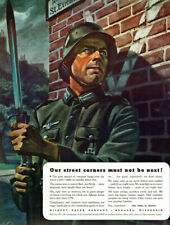 German Soldier with Bayonet in France Nazi Gilbert Papers 1942 Magazine Print Ad