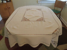 Vtg Antique Heavy Linen Tablecloth Elaborate Point de Venise Lace Bride Insets