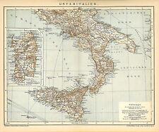 Alte historische Landkarte 1898: Unteritalien. Italien Sicilien Apulien (B14)