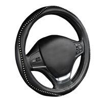 Car Crystal Steering Wheel Cover Black Pu Leather Bling Bling 38cm Universal