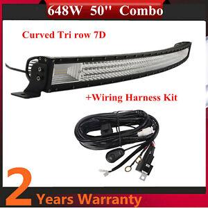 50'' 648W Curved LED Light Bar Flood Spot+Wiring Kit Tri row 7D Lens Truck UTE