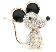 World's Cutest Sparkling Rhinestone Mouse Pin, Golden and Black Accenting