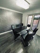 Stunning Glass Extendable Dining Set With 6 Leather Z Chairs