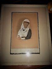 Antiguo Retrato Enmarcado Pintura Original Acuarela Esmaltado Dama En Encaje + Ventilador