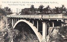 Redwood Falls Minnesota~Concrete Bridge Over River~Houses Along Road~1912 RPPC