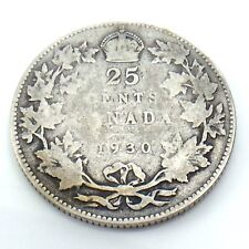 1930 Canada 25 Twenty Five Cents Quarter Silver King George V Canadian Coin G745