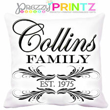 PERSONALISED FAMILY CUSHION ELEGANT CHIC FATHERS DAY MOTHERS DAY CHRISTMAS GIFT