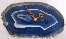 VINTAGE COBALT BLUE AGATE SLICE DESK CLOCK GOLD FILIGREE HAND AND GOLD TRIM
