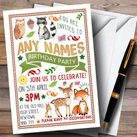 Woodland Animals Forest Childrens Birthday Party Invitations