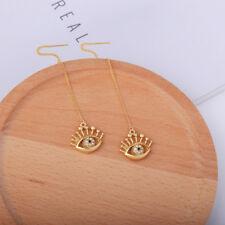 Women Elegant Fashion Earrings Ear Stud Crystal Long Gold Drop/Dangle Devil Eye