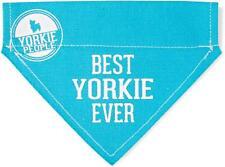 "Best Yorkie Ever Dog Bandana New Blue Slip On Over Collar 7"" x 5"" Yorkshire"