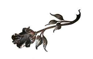 Forged Rose Black with gold Decoration Floral Metal Roses Flower