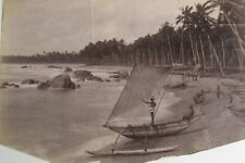 "ANTIQUE SRI LANKA PHOTOGRAPH ""OUTRIGGER BOAT IN SHORE COLOMBO CEYLON"" 1880"