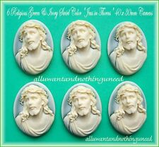 6 Christian Easter Ivory color Jesus Christ on frost Green 40mm x 30mm Cameos