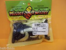 "Mr Twister 3"" Meeny Tail black chartreuse pearl 20/pack"